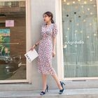 Puff-Sleeve Floral Long Sheath Dress 1596