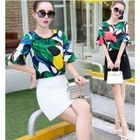 Set: Elbow-Sleeve Patterned Top + Mini Skirt 1596