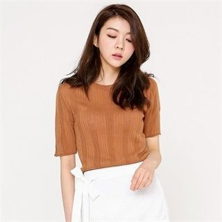 Short-Sleeve Ribbed Knit Top 1059993672