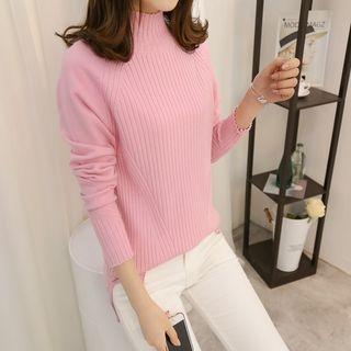 Plain Mock Collar Ribbed Sweater 1062099837