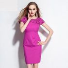 Short-Sleeve Cutout Embroidered Dress 1596