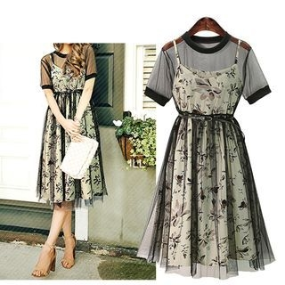 Set: Floral Print Strappy A-Line Dress + Mesh Short-Sleeve Dress 1060740046