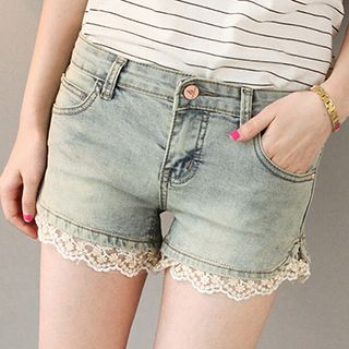 Lace Trim Denim Shorts 1049902308