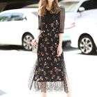 Set: Lace Elbow-Sleeve Top + Floral Print Strappy Midi Dress 1596
