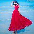 Plain Sleeveless Maxi Dress 1596