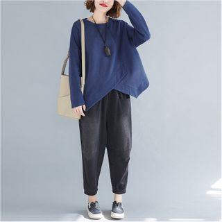 Long-sleeve | Irregular | Sapphire | T-Shirt | Blue