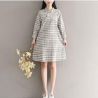 Plaid Long-Sleeve Mandarin Collar Dress 1596