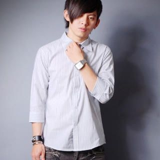 Picture of SLOWTOWN 3/4-Sleeve Striped Shirt 1023008946 (SLOWTOWN, Mens Shirts, China)
