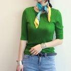Short-Sleeve Ribbed Knit Top 1596