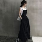 Spaghetti-Strap Frilled Maxi Pinafore Dress 1596