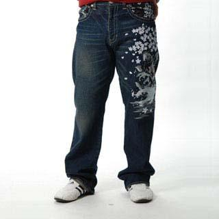 Picture of Buden Akindo Embroidered Jeans - Carp Under Sakura 1014241262 (Buden Akindo, Mens Denim, Japan)