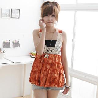 Buy MYHEART Sleeveless Crochet-Panel Tie-Dye Top 1022963511