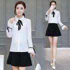 Set : Ribbon Bell-Sleeve Blouse + Skirt 1596