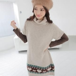 Buy CLICK Patterned Knit Turtleneck Dress 1021706117