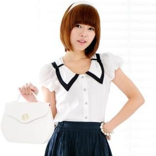 Buy Miss Hong Contrast-Collar Puff-Sleeve Blouse 1023017881