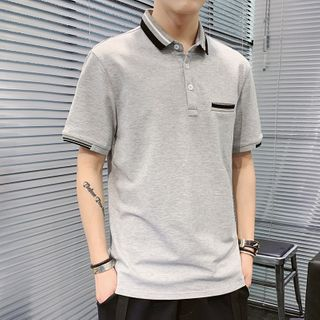 Image of Short-Sleeve Contrast Detail Polo Shirt