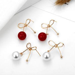 Knot & Bead Alloy Dangle Earring