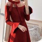 Long-Sleeve Sheer Panel A-Line Evening Dress 1596