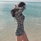 Long-Sleeve Patterned Swimsuit 1596