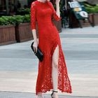 3/4-Sleeve Lace Party Maxi Dress 1596