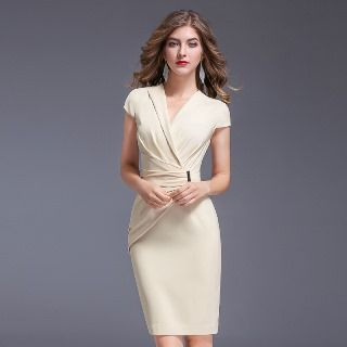 Image of Cap-Sleeve Shirred Sheath Dress
