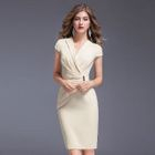 Cap-Sleeve Shirred Sheath Dress 1596