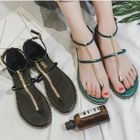 Chained Faux-Leather Flat Sandals 1596