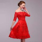 Sequined Off Shoulder Elbow Sleeve Bridesmaid Dress 1596