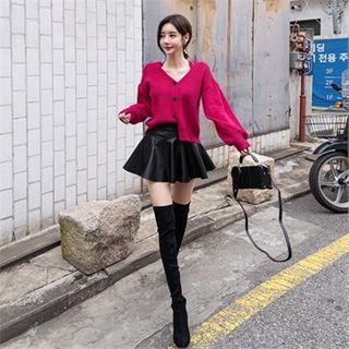 Babi n Pumkin Faux-Leather A-Line Mini Skirt