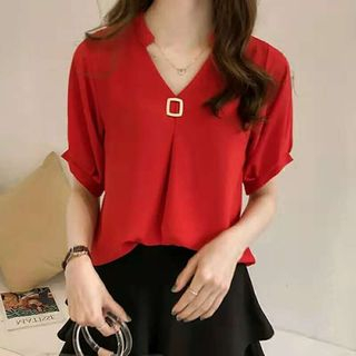 Happo Elbow-Sleeve Chiffon Blouse