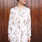 Floral Print Long-Sleeve Midi Chiffon Dress 1596