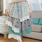 Lace-Trim Floral Layered Midi Skirt 1596