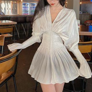 V-neck Long-sleeve Slim-fit Dress As Figure - One Size