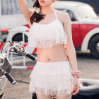 Set: Lace Bikini Top + Swimshorts + Cover-Up Top + Cover-Up Skirt 1596