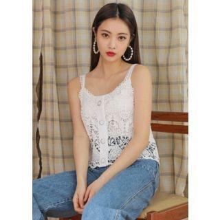 Sleeveless Button-Down Crochet-Lace Top 1065345431