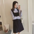 Set: Striped Shirt + Tie-Waist Pinafore Dress 1596