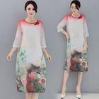 3/4-Sleeve Printed A-line Dress 1596