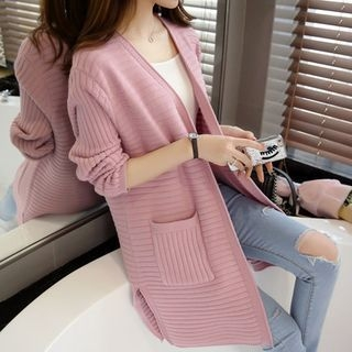 Ribbed Plain Long Cardigan 1053938144