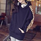Hooded Pullover with Leopard-Print Sleeves 1596