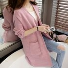 Ribbed Plain Long Cardigan 1596