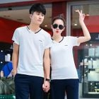 Couple Matching Set: Letter Embroidered Short Sleeve Top + Sweatpants 1596