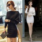 Off-Shoulder Knit Bodycon Dress 1596