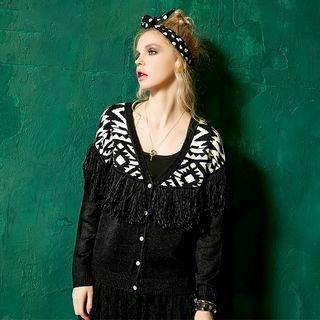 Fringe-Trim Patterned Knit Cardigan 1051534930