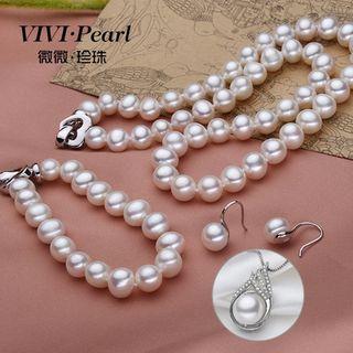 Set: Freshwater Pearl Hook Earrings + Necklace + Bracelet + Waterdrop Pendant