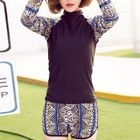 Patterned Long-Sleeve 2-piece Swimsuit 1596