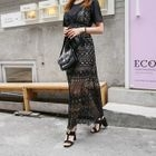 Sleeveless Maxi Crochet-Lace Dress 1596