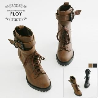 Buy FLOY SHOES Buckled Platform Boots 1023059012