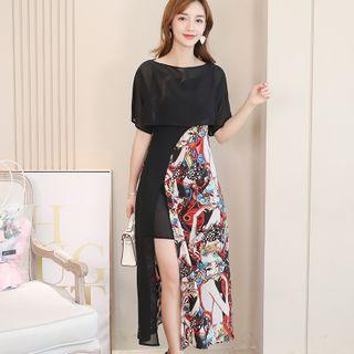 Short-sleeve | Spaghetti | Strap | Dress | Print | Top