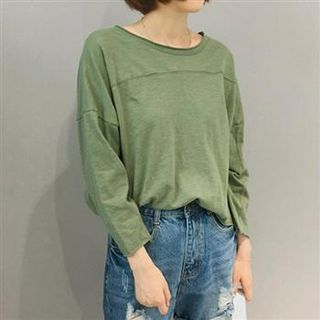 Long-Sleeve Plain Cropped Top Green - One Size 1054975973