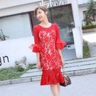 Embroidered Elbow-Sleeve Sheath Dress 1596
